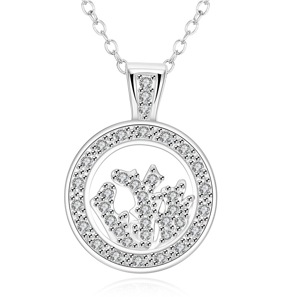 Vienna Jewelry White Gold Plated Crystal Filled Necklace