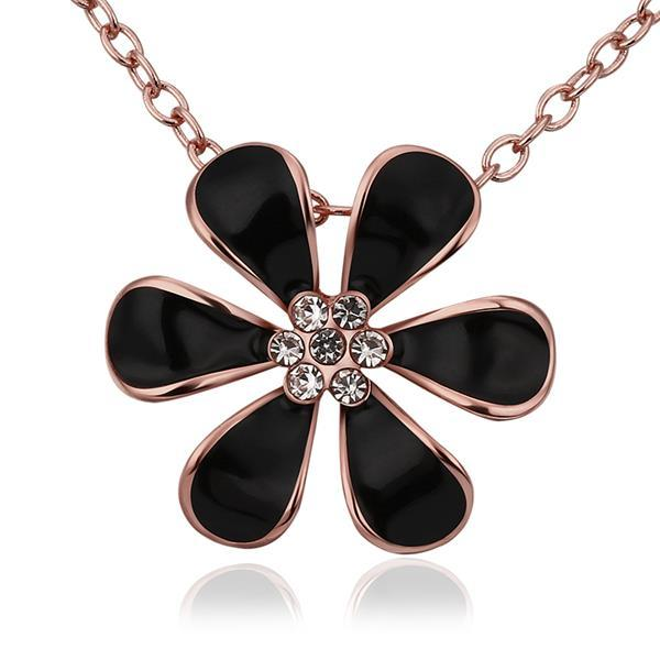 Vienna Jewelry Rose Gold Plated Large Onyx Floral Petal Emblem Necklace