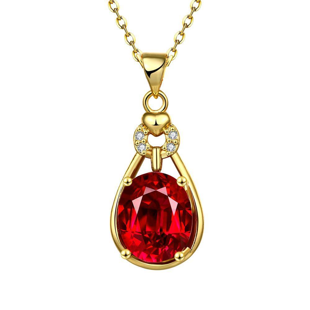 Vienna Jewelry Gold Plated Ruby Drop Necklace