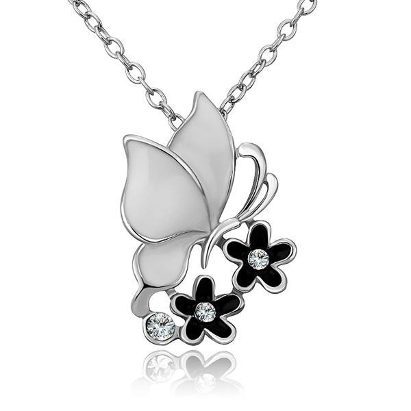 Vienna Jewelry White Gold Plated Ivory Buttefly Floral Emblem Necklace