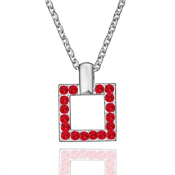 Vienna Jewelry White Gold Plated Square Shaped Ruby Jewels Necklace