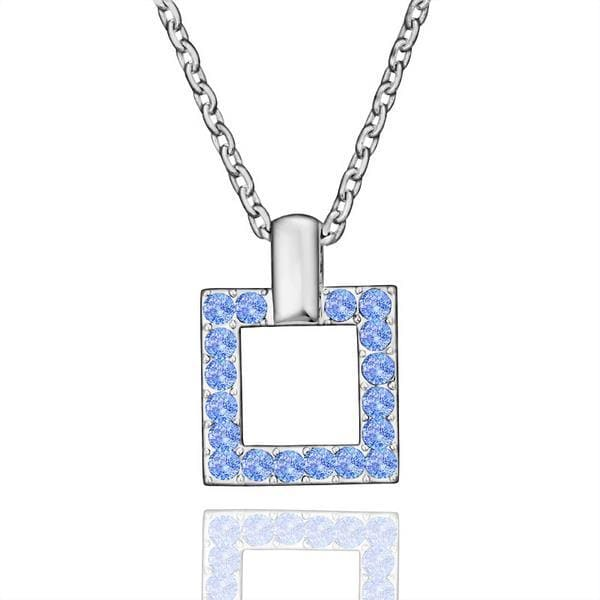 Vienna Jewelry White Gold Plated Square Shaped Saphire Necklace