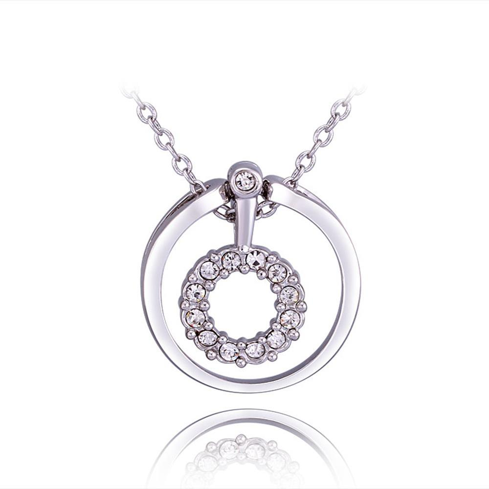 Vienna Jewelry White Gold Plated Circular Drop Necklace