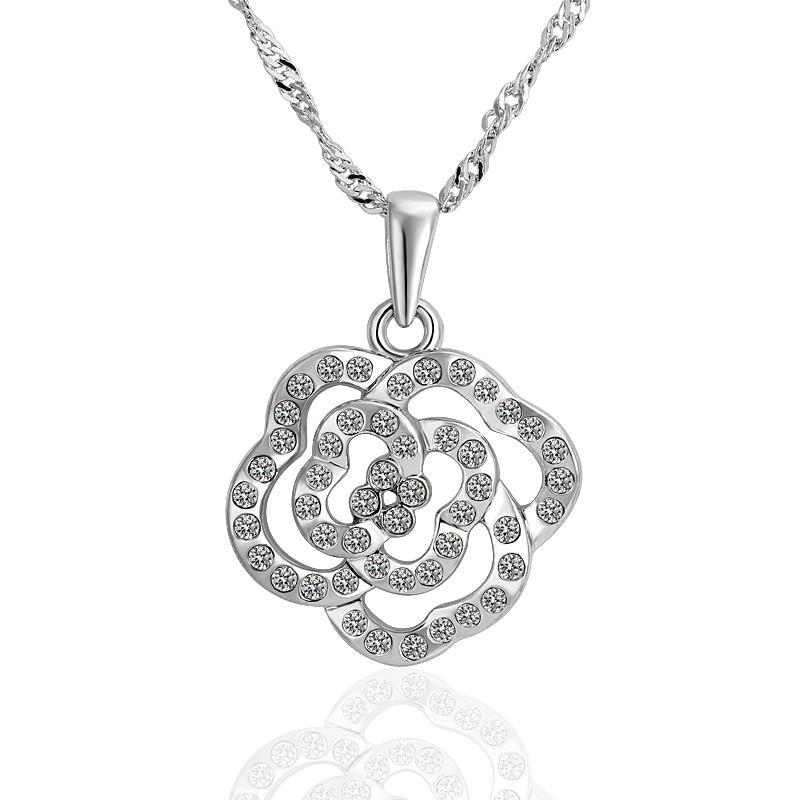 Vienna Jewelry White Gold Rose Petal Shaped Hollow Necklace