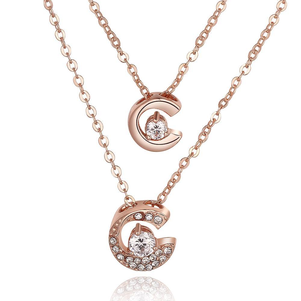 Vienna Jewelry Rose Gold Plated Duo-Crescent Crystal Necklace