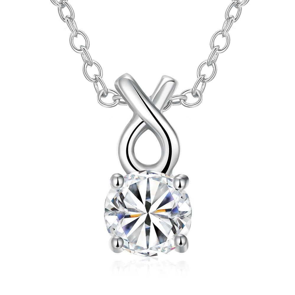 Vienna Jewelry White Gold Plated Classic Tiffany's Diamond Necklace