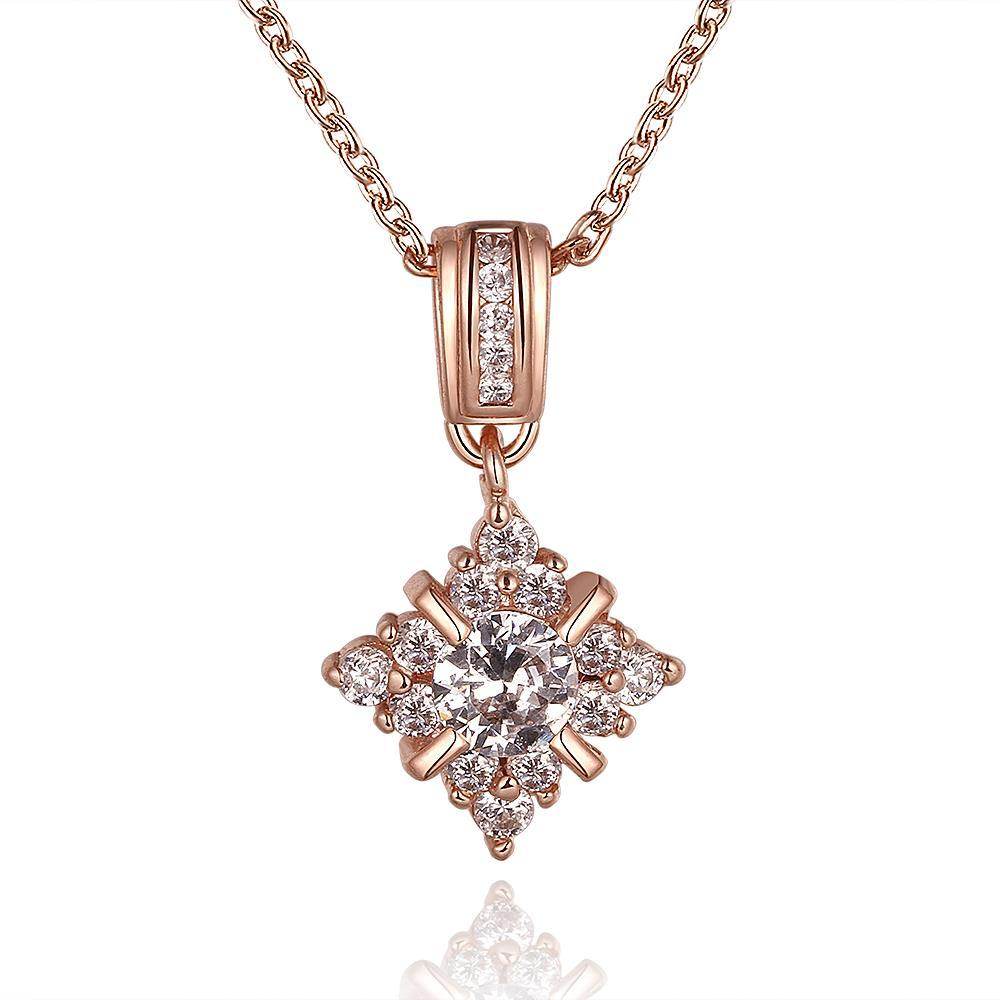 Vienna Jewelry Rose Gold Plated Crystal Snowflake Jewel Necklace