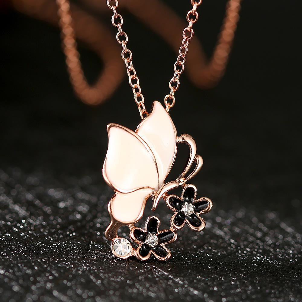 Vienna Jewelry Rose Gold Plated Ivory Butterfly Necklace