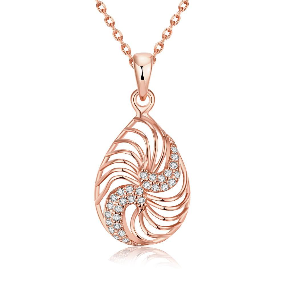 Vienna Jewelry Rose Gold Plated Clockwise Design Necklace