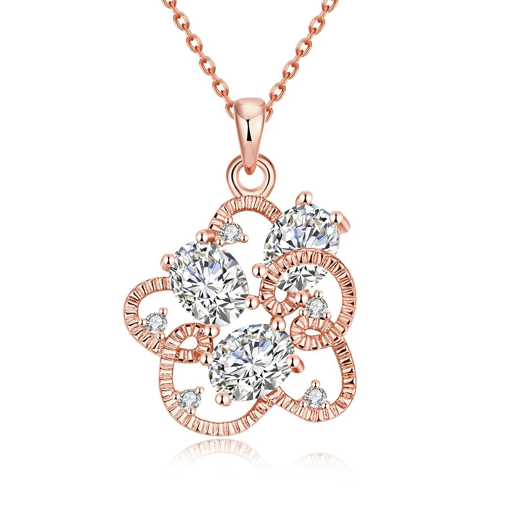 Vienna Jewelry Rose Gold Plated Intertwined Trio-Crystal Necklace