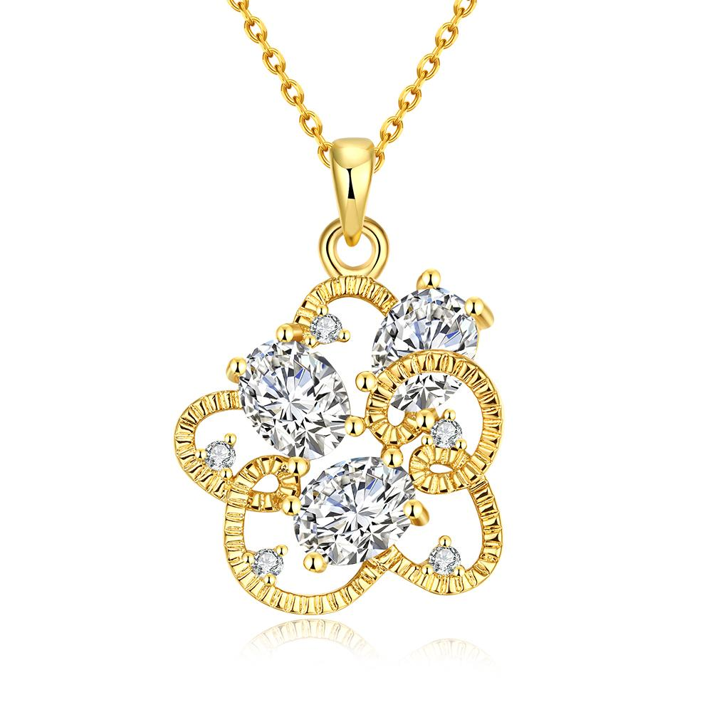 Vienna Jewelry Gold Plated Intertwined Trio-Crystal Necklace