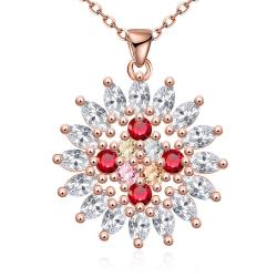 Vienna Jewelry Rose Gold Plated Quad-Ruby's Necklace - Thumbnail 0