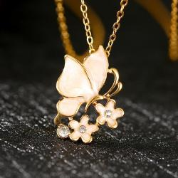 Vienna Jewelry Gold Plated Ivory Plating Butterfly Floral Necklace - Thumbnail 0