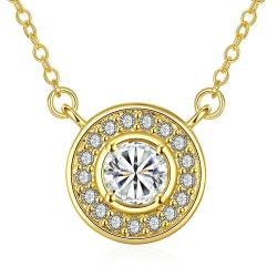 Vienna Jewelry Gold Plated Circular Crystal * Pendant Necklace - Thumbnail 0