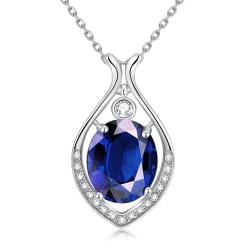 Vienna Jewelry White Gold Plated Classic New York Saphire Necklace - Thumbnail 0