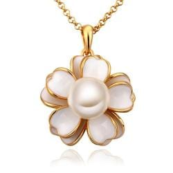 Vienna Jewelry Gold Plated Ivory Floral Pearl Emblem Necklace - Thumbnail 0