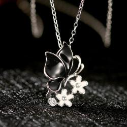 Vienna Jewelry White Gold Plated Onyx Butterfly Floral Emblem Necklace - Thumbnail 0