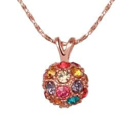 Vienna Jewelry Rose Gold Plated Rainbow Jewels Pav'e Necklace - Thumbnail 0