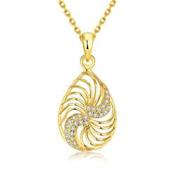 Vienna Jewelry Gold Plated Clockwise Design Necklace - Thumbnail 0
