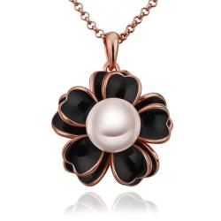 Vienna Jewelry Rose Gold Plated Onyx Floral Pearl Emblem Necklace - Thumbnail 0