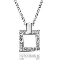 Vienna Jewelry White Gold Plated Square Shaped Crystal Jewels Necklace - Thumbnail 0
