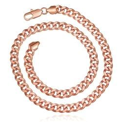Vienna Jewelry Rose Gold Plated Hollow Interlocking Chain Necklace