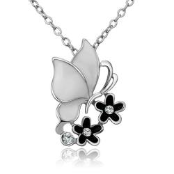 Vienna Jewelry White Gold Plated Ivory Buttefly Floral Emblem Necklace - Thumbnail 0