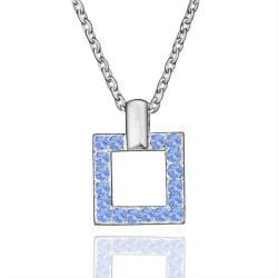 Vienna Jewelry White Gold Plated Square Shaped Saphire Necklace - Thumbnail 0