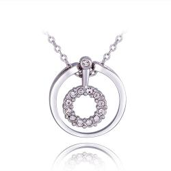 Vienna Jewelry White Gold Plated Circular Drop Necklace - Thumbnail 0