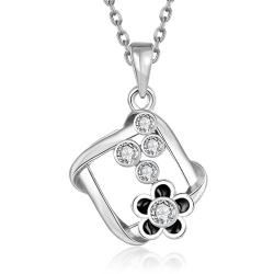 Vienna Jewelry White Gold Plated Spiral Square Emblem Pendant Necklace - Thumbnail 0