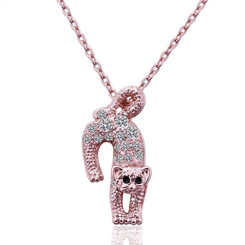 Vienna Jewelry Rose Gold Plated Jumping Cat Necklace
