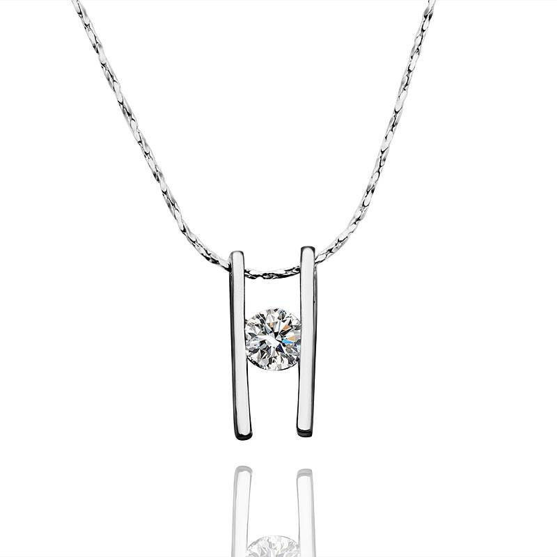 Vienna Jewelry White Gold Plated Double Horizontal Lined Necklace