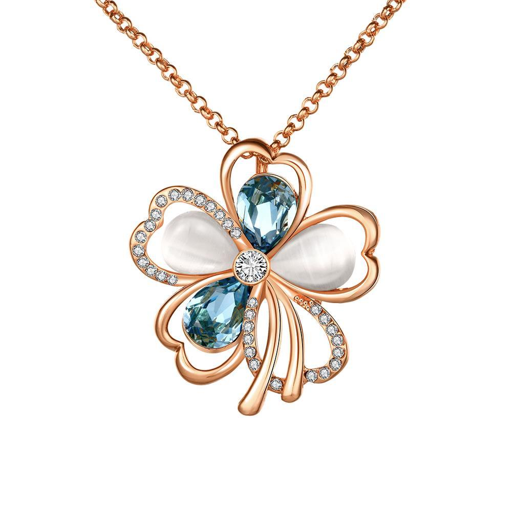 Vienna Jewelry Rose Gold Plated Sapphire & Ivory Clover Necklace