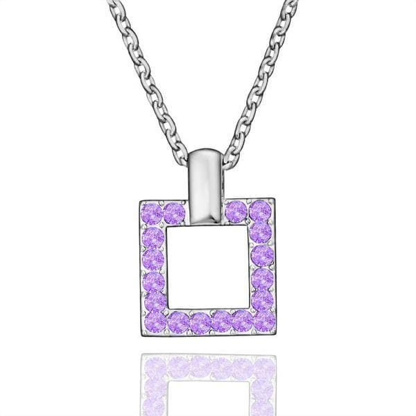 Vienna Jewelry White Gold Plated Square Shaped Purple Citrine Necklace