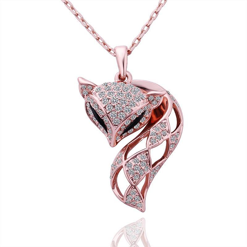 Vienna Jewelry Rose Gold Plated Kitty Cat Necklace