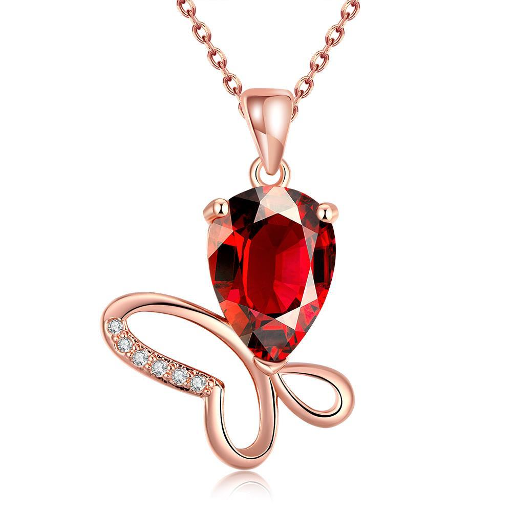 Vienna Jewelry Rose Gold Plated Ruby Gem Butterfly Necklace