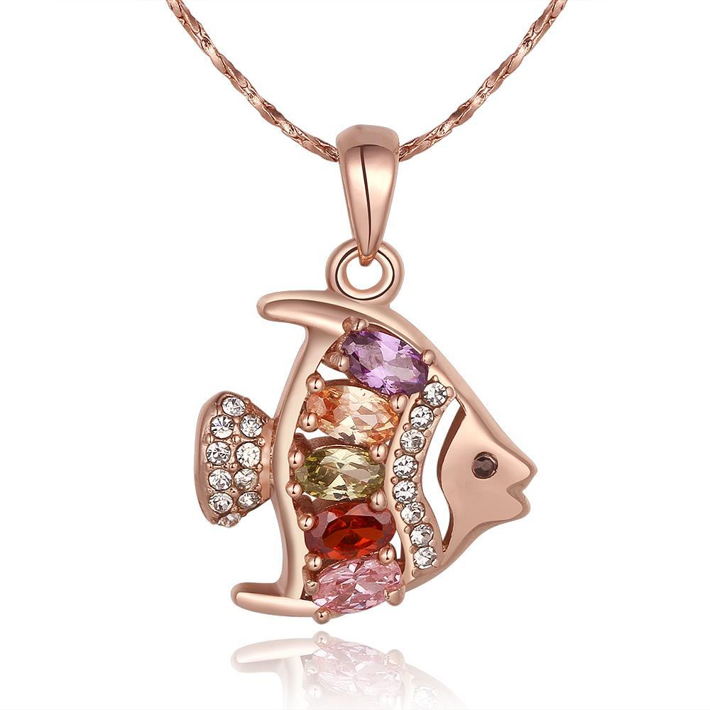 Vienna Jewelry Rose Gold Rainbow Jewels Fish Emblem Necklace