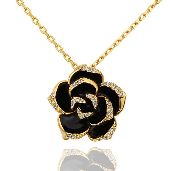 Vienna Jewelry Gold Plated Onyx Floral Petal Emblem Necklace