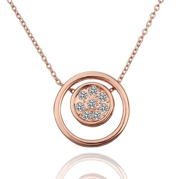 Vienna Jewelry Rose Gold Plated Double Circle Emblem Necklace