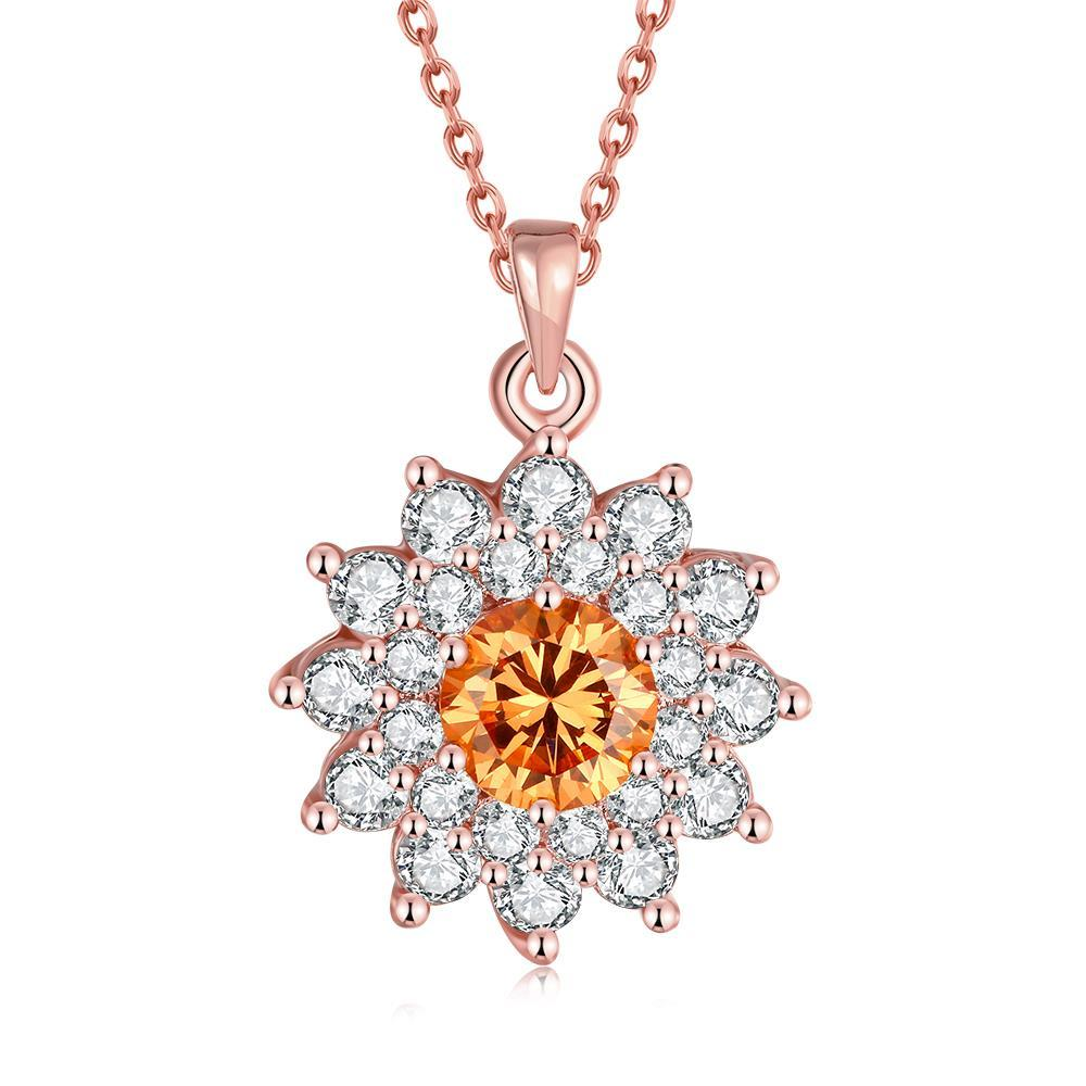 Vienna Jewelry Rose Gold Plated Snowflake Citrine Necklace