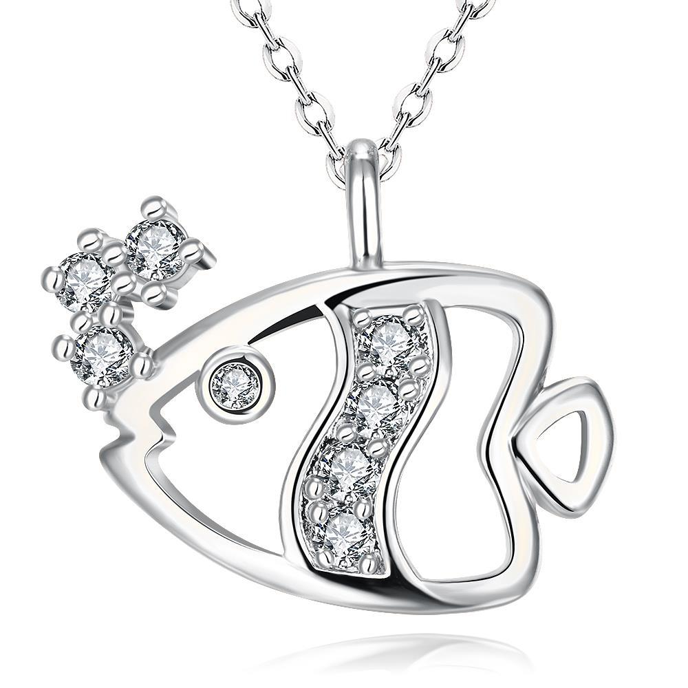 Vienna Jewelry White Gold Plated Fish of the Sea Necklace