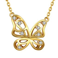 Vienna Jewelry Gold Plated Hollow Butterfly Emblem Necklace - Thumbnail 0