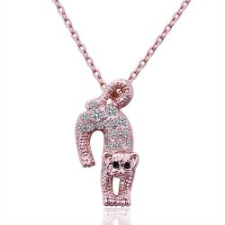 Vienna Jewelry Rose Gold Plated Jumping Cat Necklace - Thumbnail 0