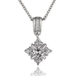 Vienna Jewelry White Gold Plated Crystal Snowflake Jewel Necklace - Thumbnail 0