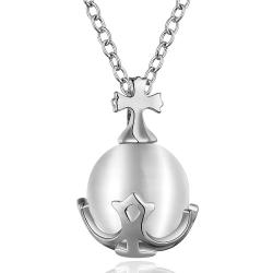 Vienna Jewelry White Gold Plated Pearl Anchor Emblem Necklace - Thumbnail 0