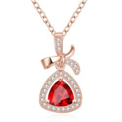 Vienna Jewelry Rose Gold Plated Classic Triangular Necklace - Thumbnail 0