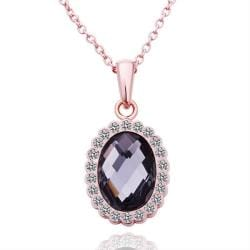 Vienna Jewelry Rose Gold Plated Oval Shaped Onyx Necklace