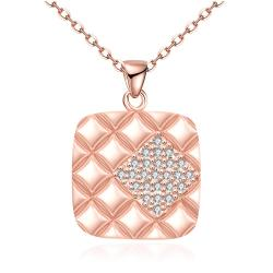 Vienna Jewelry Rose Gold Plated Square * Pendant Necklace - Thumbnail 0
