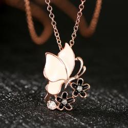 Vienna Jewelry Rose Gold Plated Ivory Butterfly Necklace - Thumbnail 0