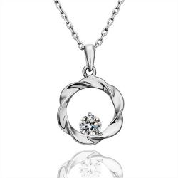 Vienna Jewelry White Gold Plated Spiral Design with Jewel Necklace - Thumbnail 0